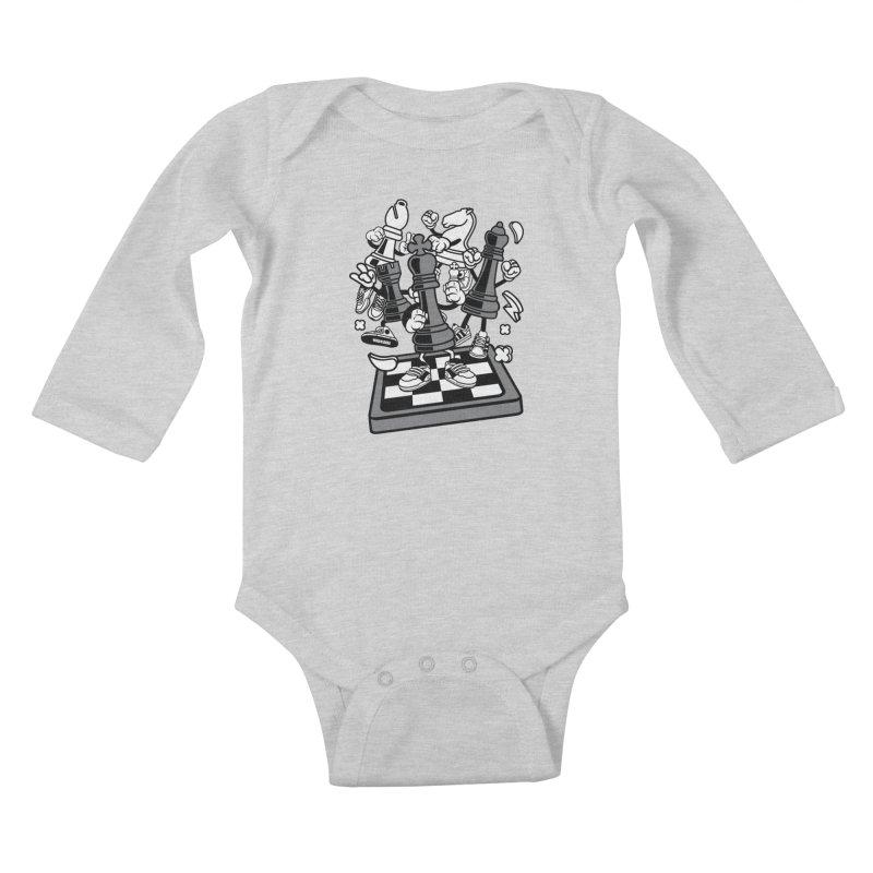 Game Of Chess Kids Baby Longsleeve Bodysuit by WackyToonz