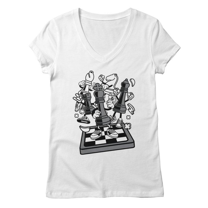 Game Of Chess Women's Regular V-Neck by WackyToonz