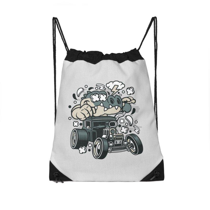 Croc Rod Accessories Drawstring Bag Bag by WackyToonz