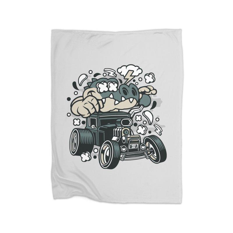 Croc Rod Home Fleece Blanket Blanket by WackyToonz