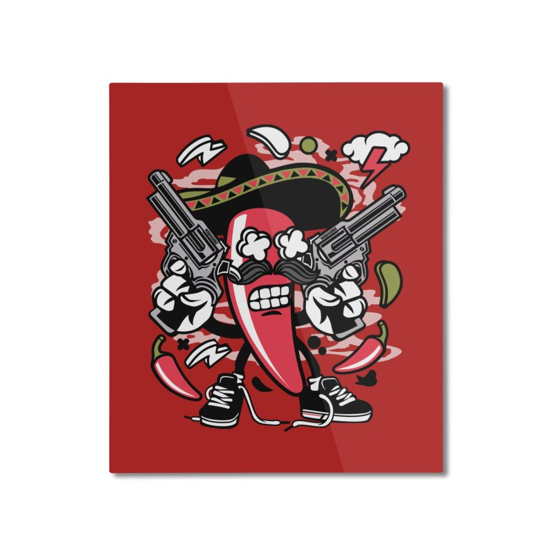 Hot and Spicy Home Mounted Aluminum Print by WackyToonz