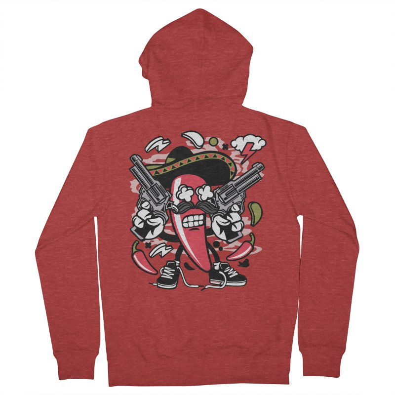Hot and Spicy Men's French Terry Zip-Up Hoody by WackyToonz