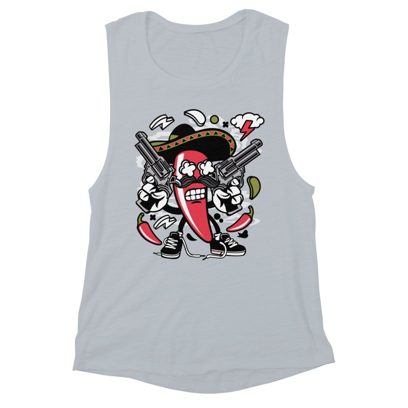 Hot and Spicy Women's Muscle Tank by WackyToonz
