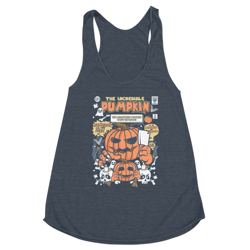 The Incredible Pumpkin Women's Racerback Triblend Tank by WackyToonz