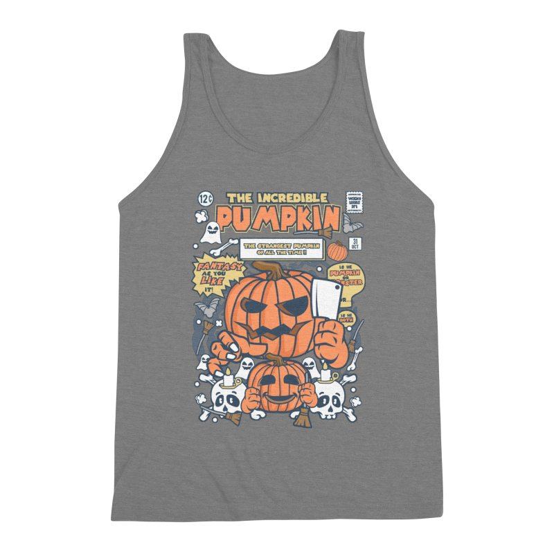 The Incredible Pumpkin Men's Triblend Tank by WackyToonz