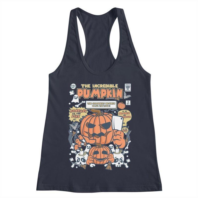 The Incredible Pumpkin Women's Racerback Tank by WackyToonz