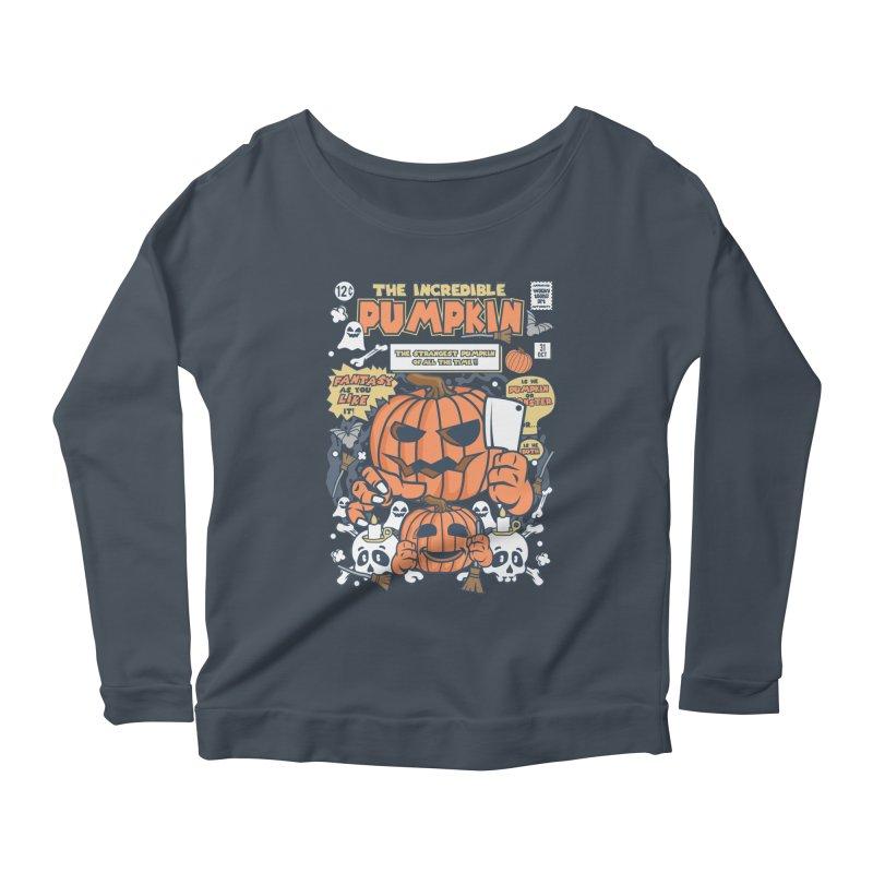 The Incredible Pumpkin Women's Scoop Neck Longsleeve T-Shirt by WackyToonz