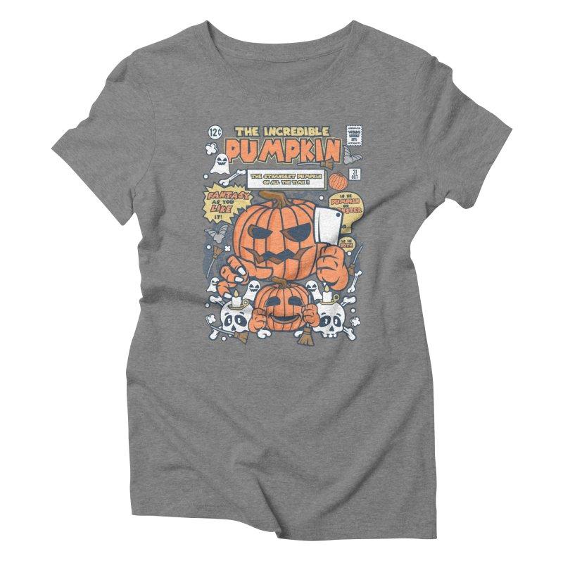 The Incredible Pumpkin Women's Triblend T-Shirt by WackyToonz