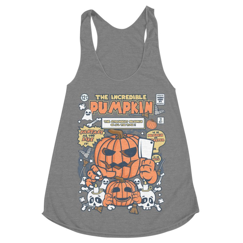 The Incredible Pumpkin Women's Racerback Triblend Tank by WackyToonz