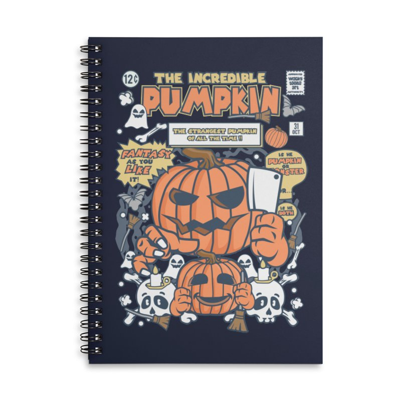 The Incredible Pumpkin Accessories Lined Spiral Notebook by WackyToonz