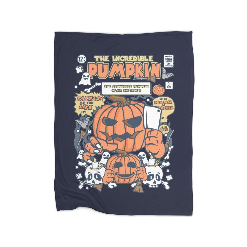 The Incredible Pumpkin Home Fleece Blanket Blanket by WackyToonz