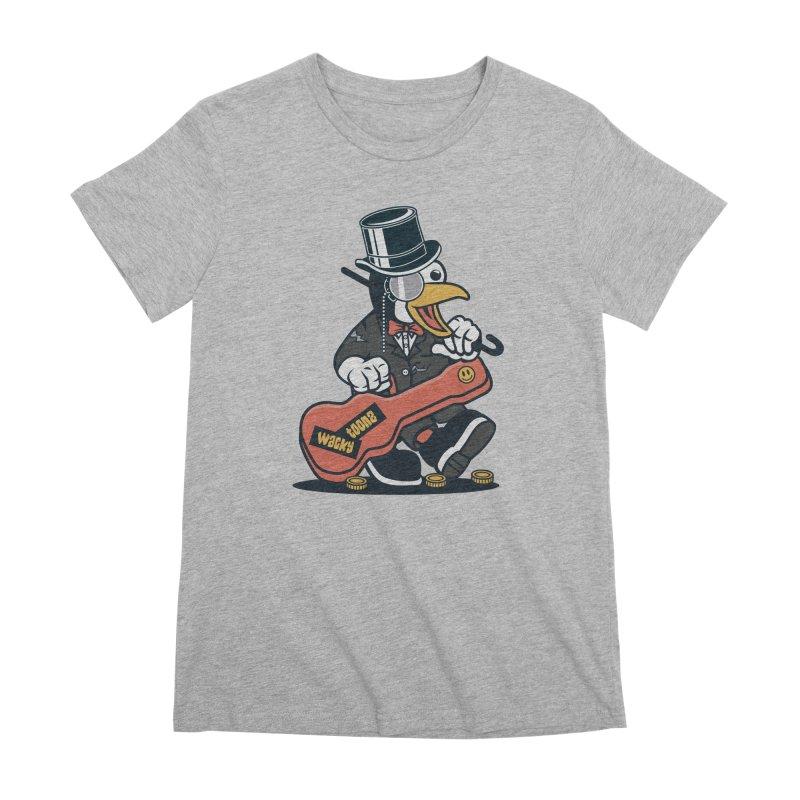 Penguin Busker Women's Premium T-Shirt by WackyToonz