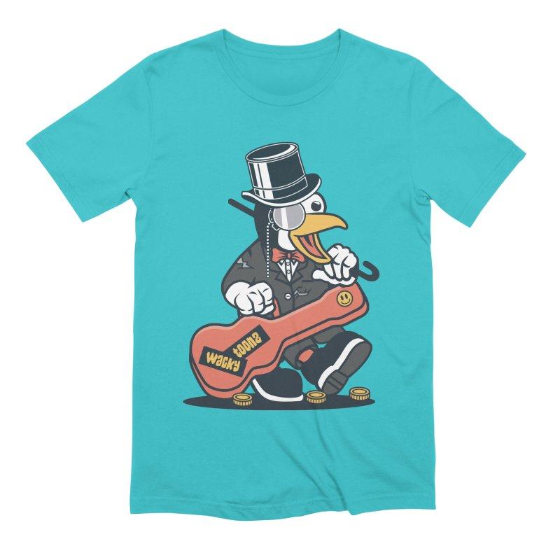 Penguin Busker Men's Extra Soft T-Shirt by WackyToonz