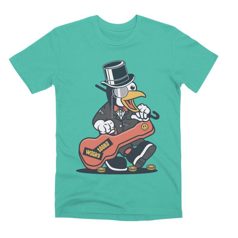 Penguin Busker Men's Premium T-Shirt by WackyToonz