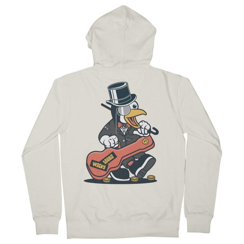 Penguin Busker Men's French Terry Zip-Up Hoody by WackyToonz