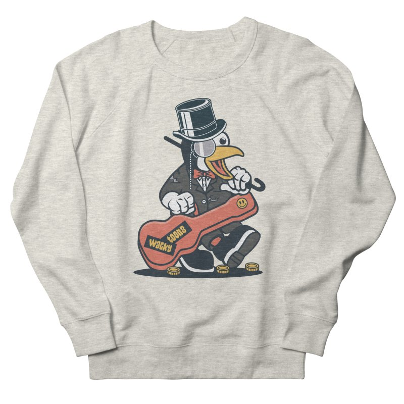 Penguin Busker Men's French Terry Sweatshirt by WackyToonz