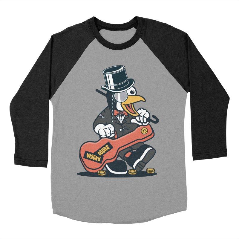 Penguin Busker Men's Baseball Triblend Longsleeve T-Shirt by WackyToonz