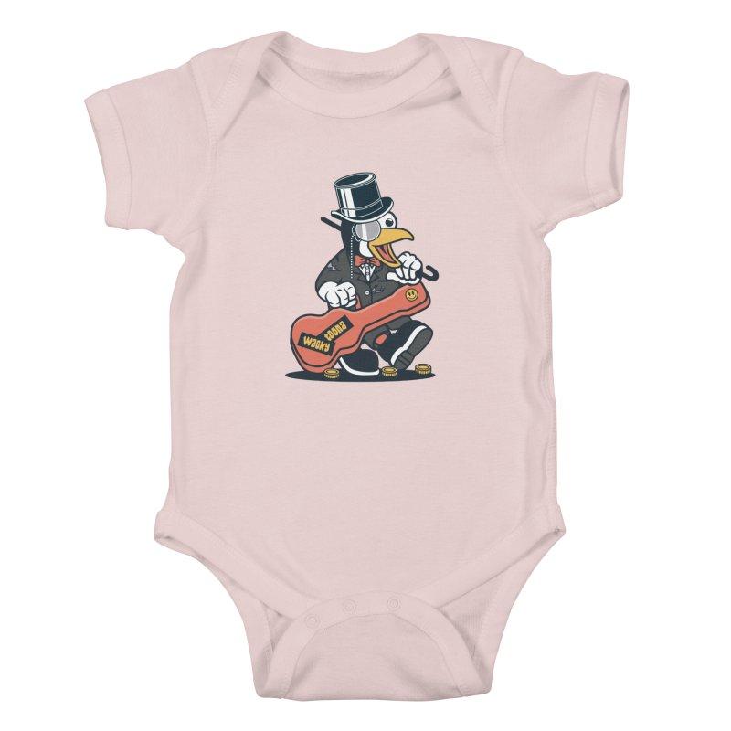 Penguin Busker Kids Baby Bodysuit by WackyToonz
