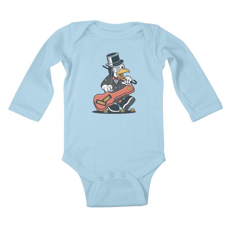 Penguin Busker Kids Baby Longsleeve Bodysuit by WackyToonz