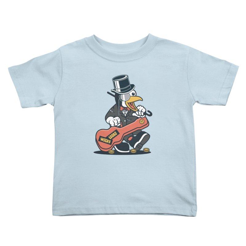 Penguin Busker Kids Toddler T-Shirt by WackyToonz