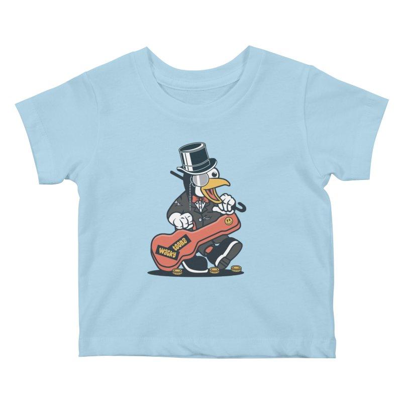 Penguin Busker Kids Baby T-Shirt by WackyToonz