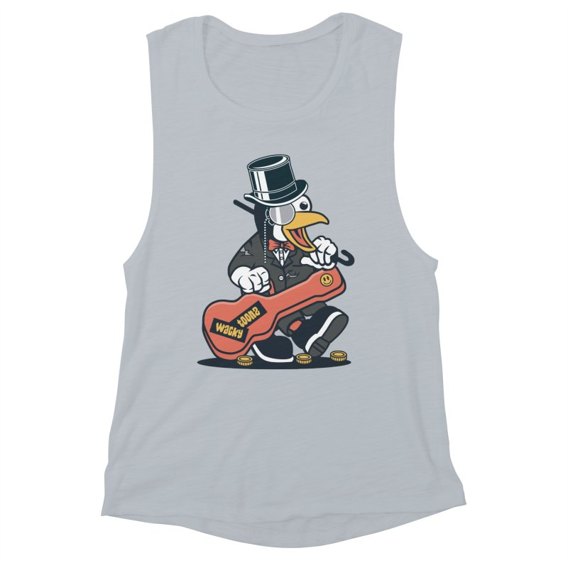 Penguin Busker Women's Muscle Tank by WackyToonz