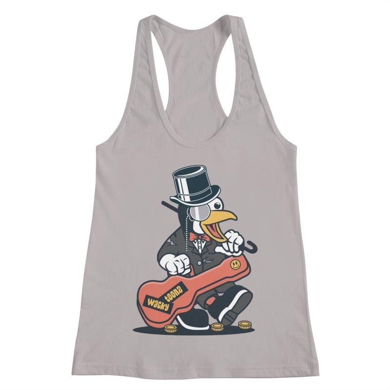 Penguin Busker Women's Racerback Tank by WackyToonz