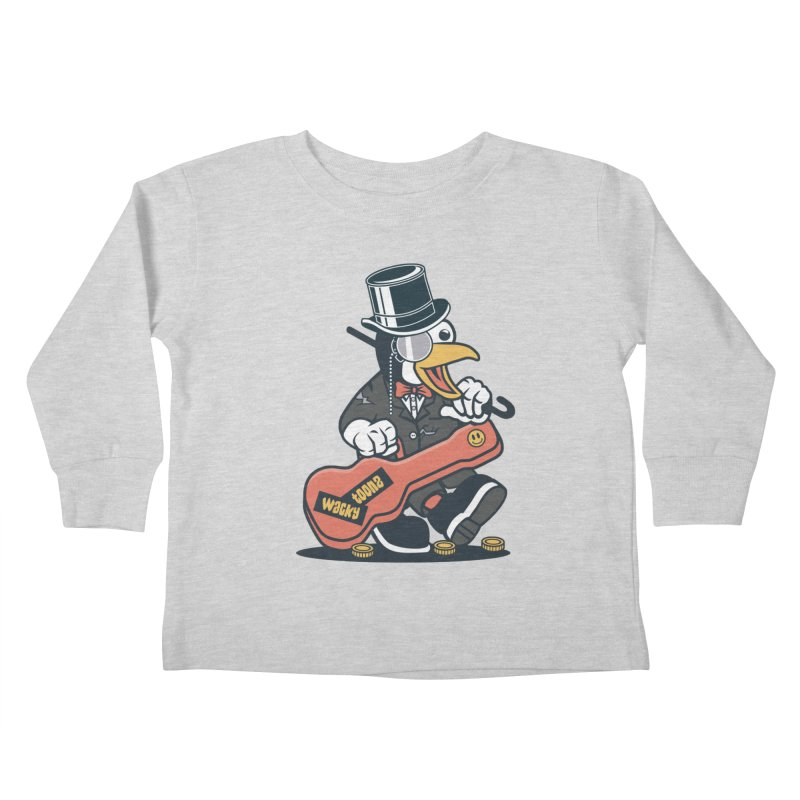 Penguin Busker Kids Toddler Longsleeve T-Shirt by WackyToonz
