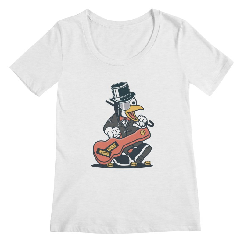 Penguin Busker Women's Regular Scoop Neck by WackyToonz