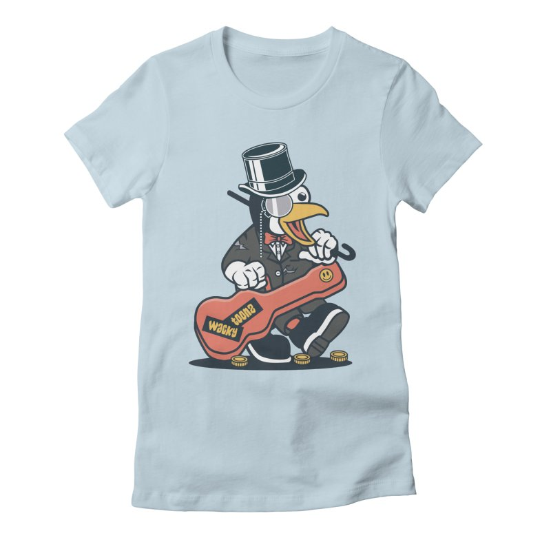Penguin Busker Women's Fitted T-Shirt by WackyToonz