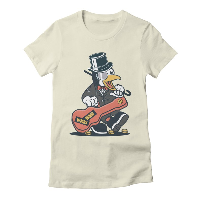 Penguin Busker Women's Fitted T-Shirt by WackyToonz