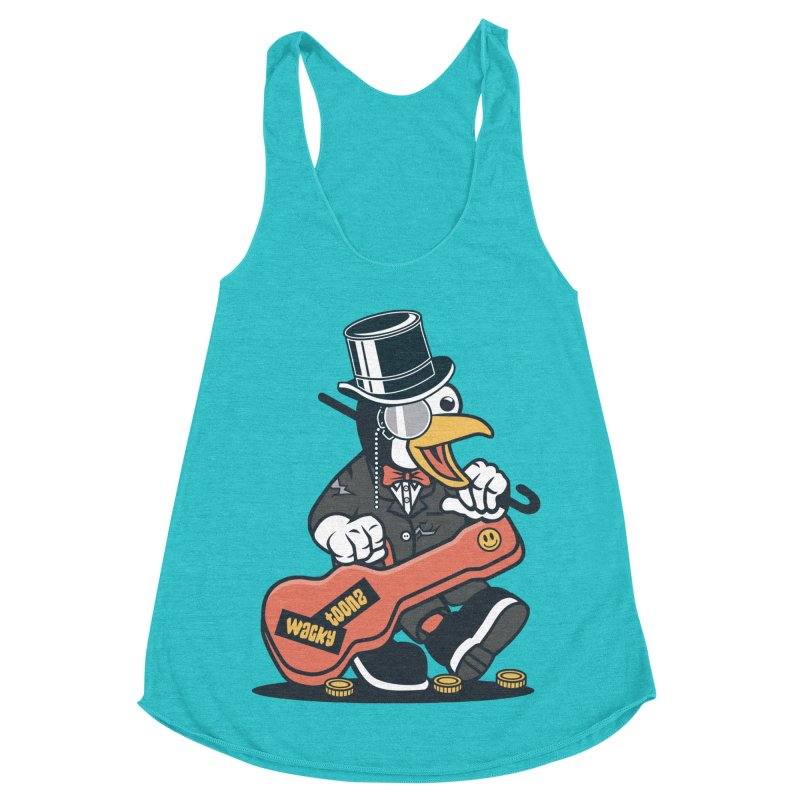 Penguin Busker Women's Racerback Triblend Tank by WackyToonz