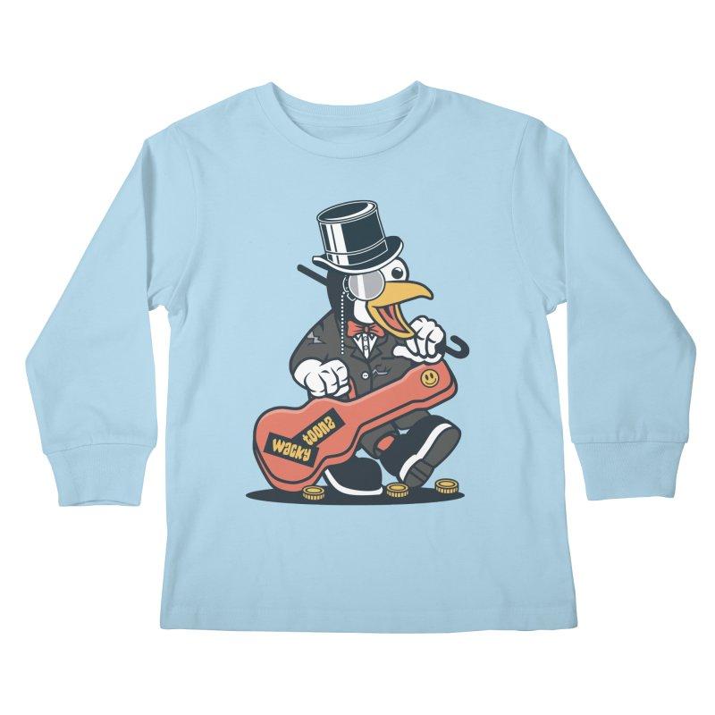 Penguin Busker Kids Longsleeve T-Shirt by WackyToonz