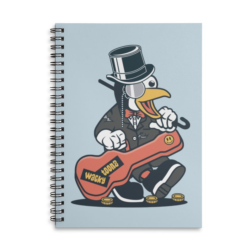 Penguin Busker Accessories Lined Spiral Notebook by WackyToonz