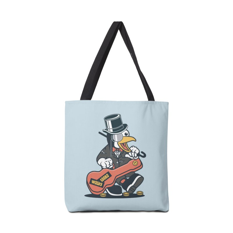 Penguin Busker Accessories Tote Bag Bag by WackyToonz