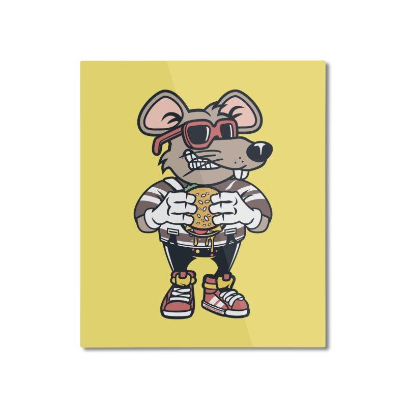 Rat Burglar Home Mounted Aluminum Print by WackyToonz