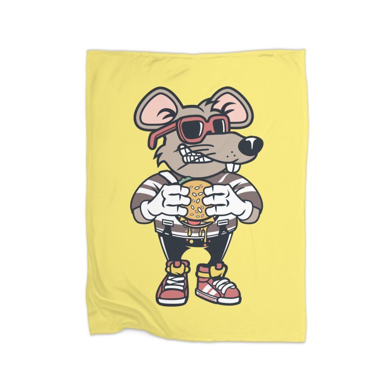 Rat Burglar Home Fleece Blanket Blanket by WackyToonz