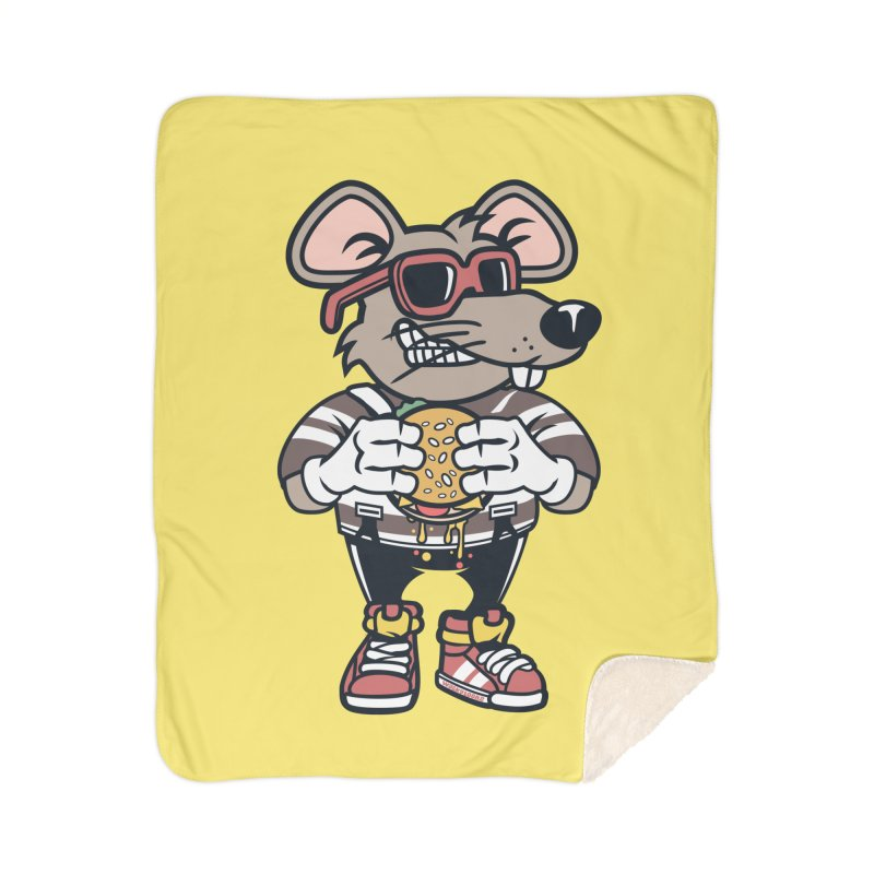 Rat Burglar Home Sherpa Blanket Blanket by WackyToonz