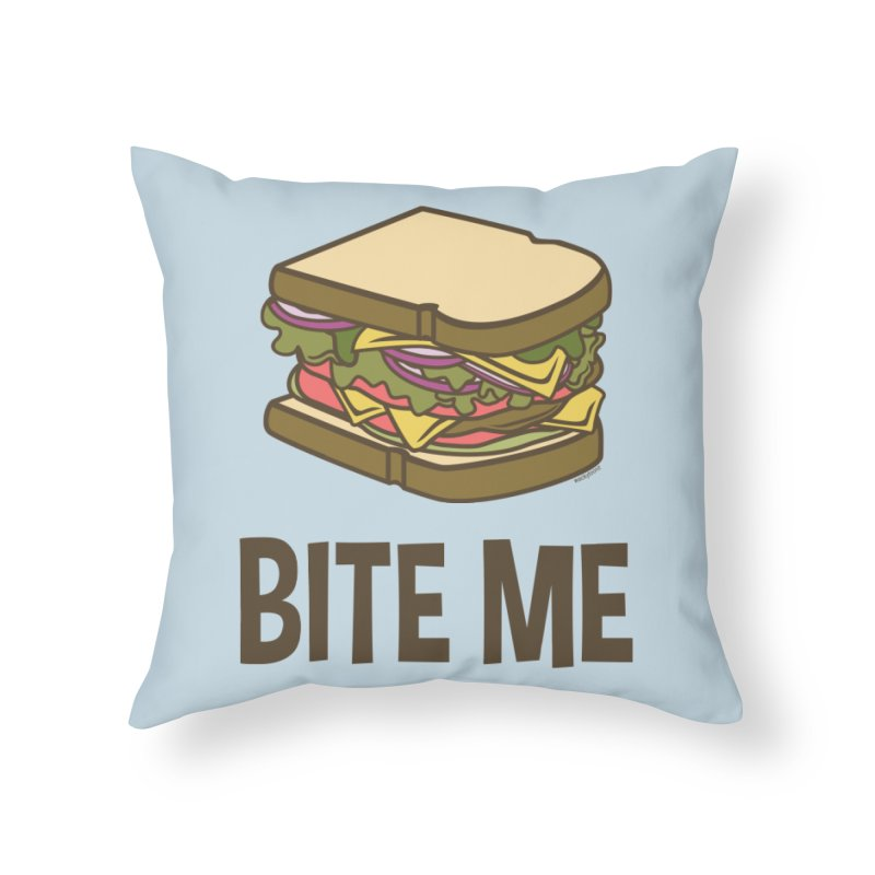 Bite Me Home Throw Pillow by WackyToonz