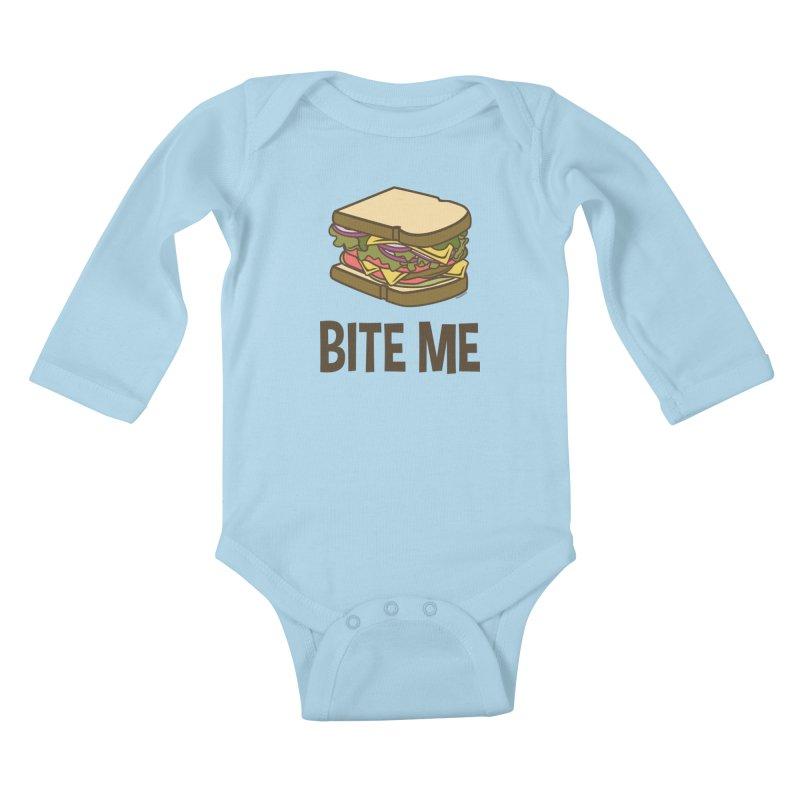 Bite Me Kids Baby Longsleeve Bodysuit by WackyToonz