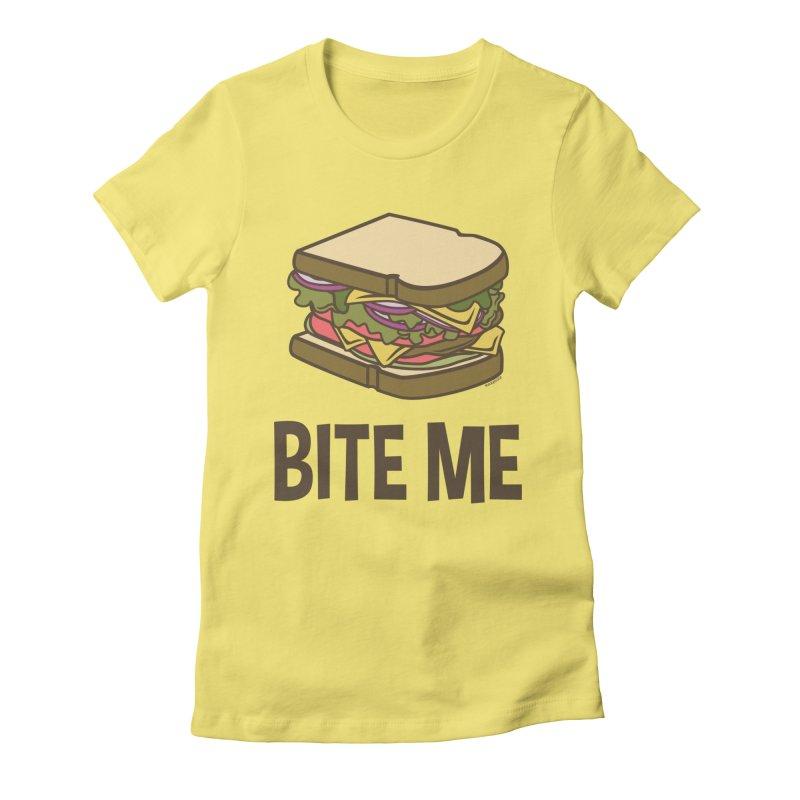 Bite Me Women's Fitted T-Shirt by WackyToonz