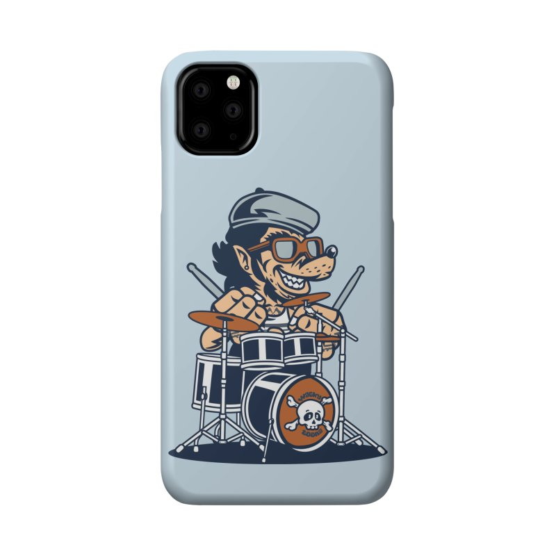 Wolf On Drums Accessories Phone Case by WackyToonz
