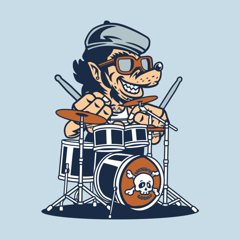Wolf On Drums Men's V-Neck by WackyToonz