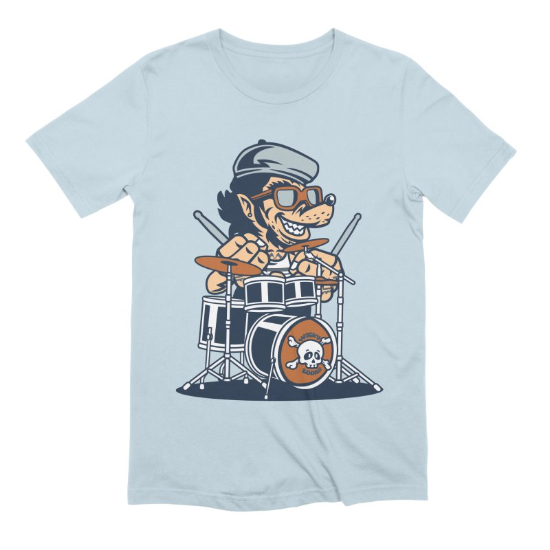 Wolf On Drums Men's T-Shirt by WackyToonz
