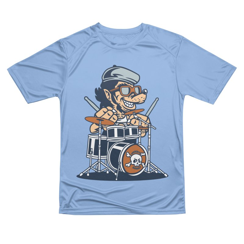 Wolf On Drums Men's Performance T-Shirt by WackyToonz