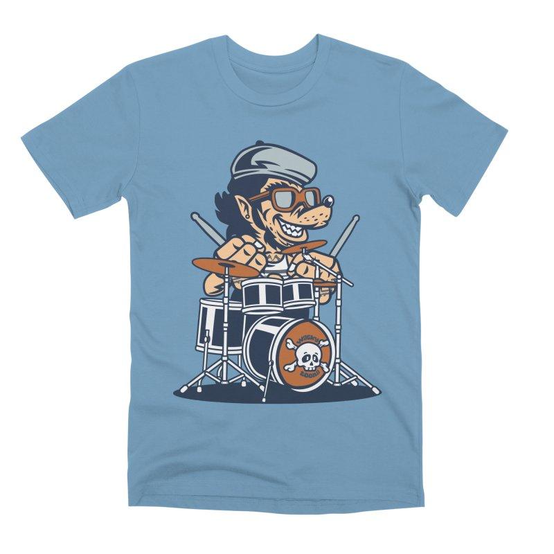 Wolf On Drums Men's Premium T-Shirt by WackyToonz