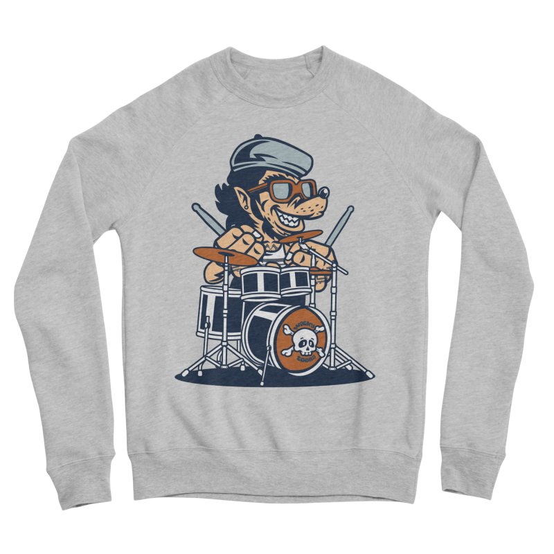 Wolf On Drums Men's Sponge Fleece Sweatshirt by WackyToonz