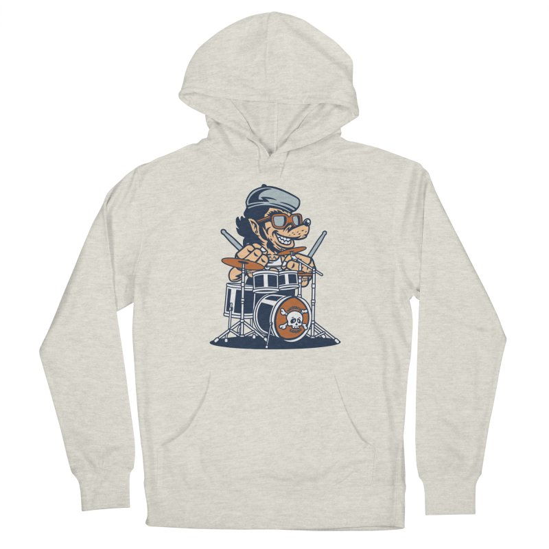 Wolf On Drums Men's Pullover Hoody by WackyToonz
