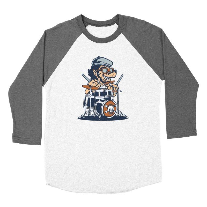 Wolf On Drums Men's Baseball Triblend Longsleeve T-Shirt by WackyToonz