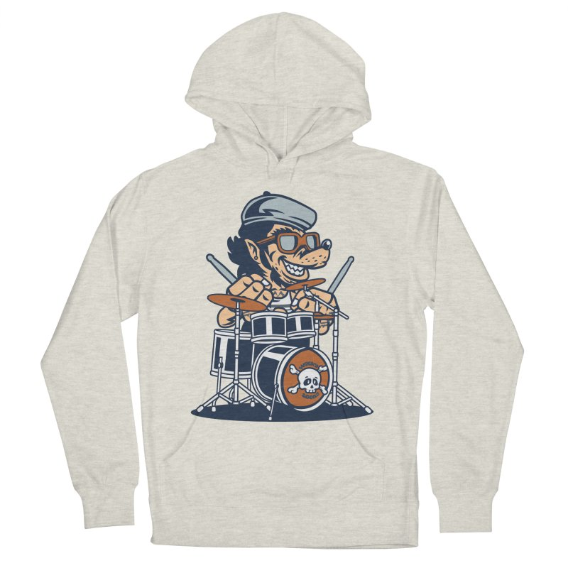 Wolf On Drums Men's French Terry Pullover Hoody by WackyToonz